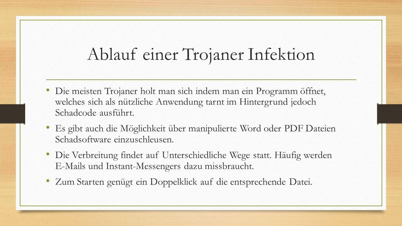 Ablauf einer Trojaner Infektion Die meisten Trojaner holt man sich indem man ein Programm öffnet, welches sich als nützliche Anwendung tarnt im Hinter