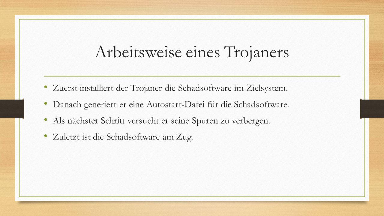 Arbeitsweise eines Trojaners Zuerst installiert der Trojaner die Schadsoftware im Zielsystem. Danach generiert er eine Autostart-Datei für die Schadso