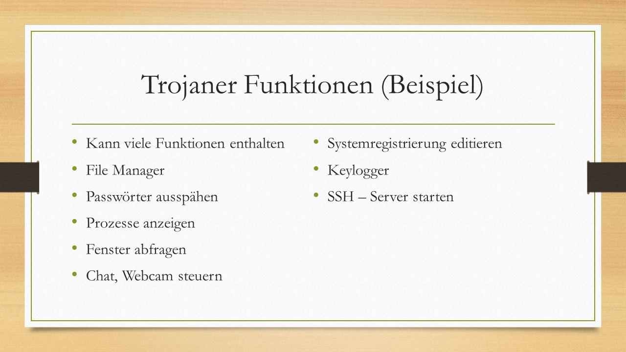 Trojaner Funktionen (Beispiel) Kann viele Funktionen enthalten File Manager Passwörter ausspähen Prozesse anzeigen Fenster abfragen Chat, Webcam steue