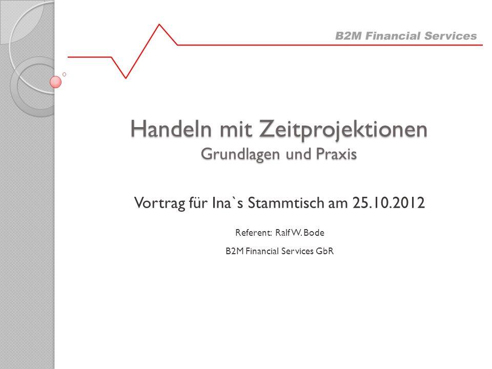 Handeln mit Zeitprojektionen Grundlagen und Praxis Vortrag für Ina`s Stammtisch am 25.10.2012 Referent: Ralf W. Bode B2M Financial Services GbR