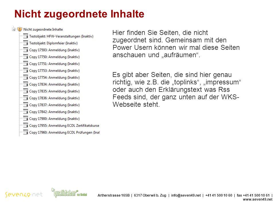 Nicht zugeordnete Inhalte Artherstrasse 165B | 6317 Oberwil b.
