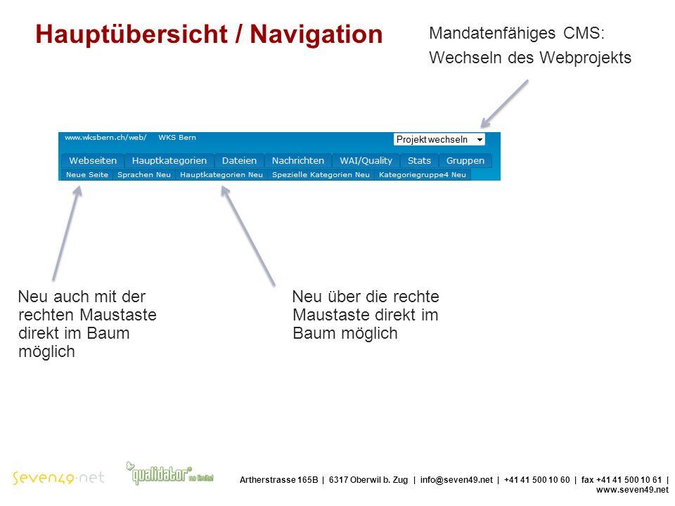 Hauptübersicht / Navigation Artherstrasse 165B | 6317 Oberwil b.