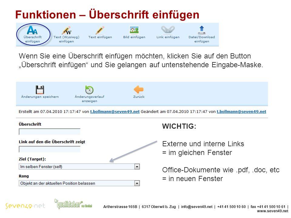 Funktionen – Überschrift einfügen Artherstrasse 165B | 6317 Oberwil b.
