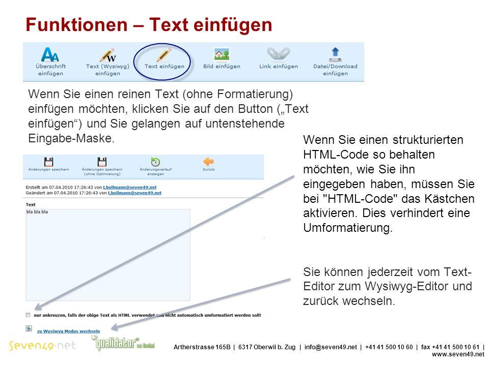 Funktionen – Text einfügen Artherstrasse 165B | 6317 Oberwil b.