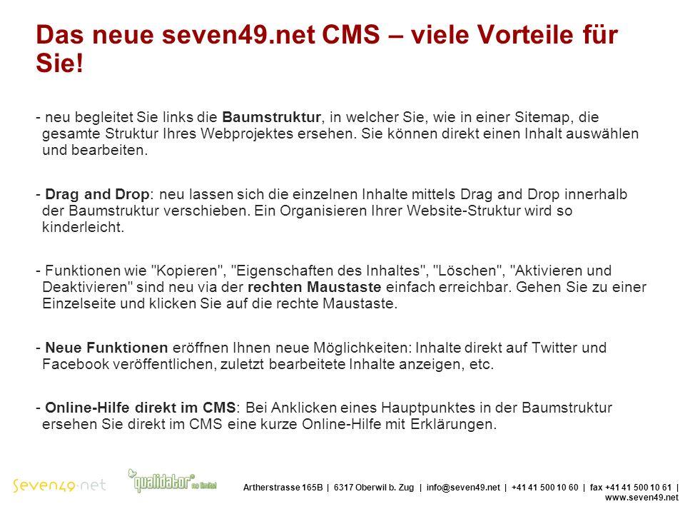 Das neue seven49.net CMS – viele Vorteile für Sie.