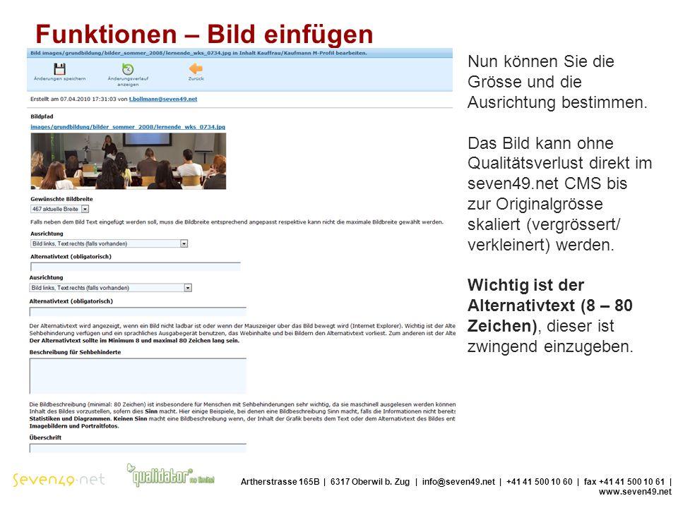 Funktionen – Bild einfügen Artherstrasse 165B | 6317 Oberwil b.