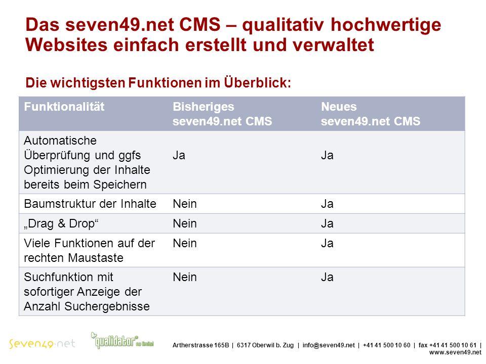 Das seven49.net CMS – qualitativ hochwertige Websites einfach erstellt und verwaltet Die wichtigsten Funktionen im Überblick: Artherstrasse 165B | 6317 Oberwil b.
