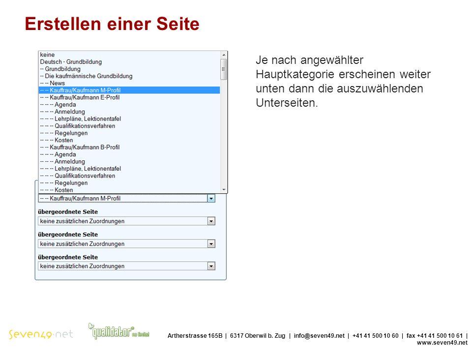 Erstellen einer Seite Artherstrasse 165B | 6317 Oberwil b.