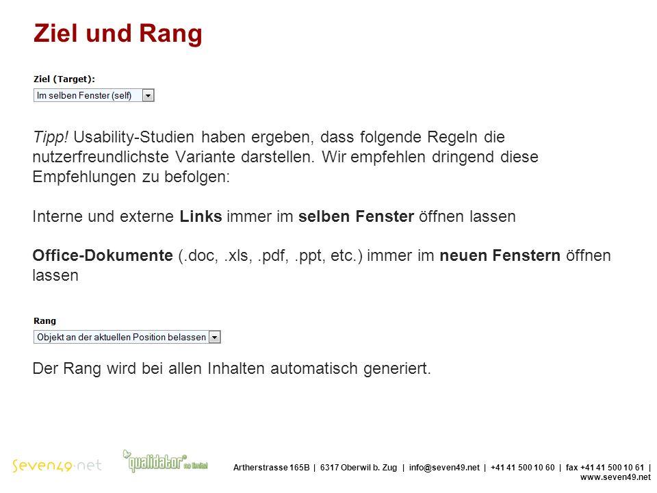Ziel und Rang Artherstrasse 165B | 6317 Oberwil b.