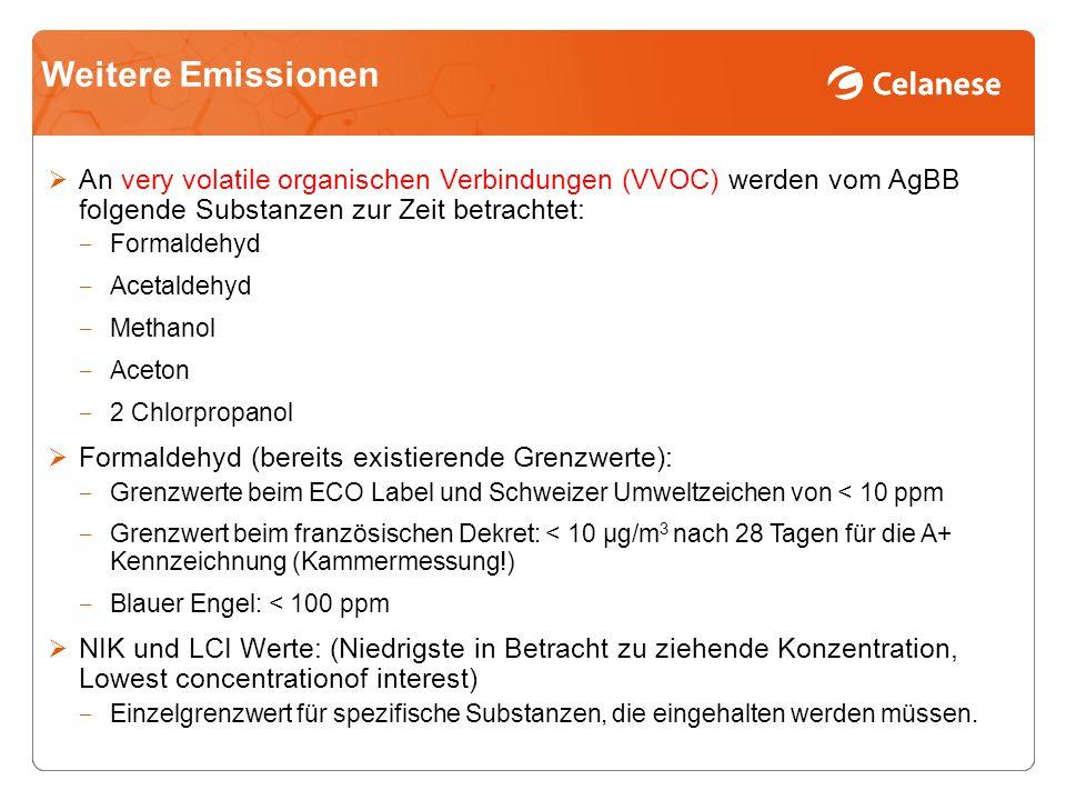 Weitere Emissionen An very volatile organischen Verbindungen (VVOC) werden vom AgBB folgende Substanzen zur Zeit betrachtet: Formaldehyd Acetaldehyd Methanol Aceton 2 Chlorpropanol Formaldehyd (bereits existierende Grenzwerte): Grenzwerte beim ECO Label und Schweizer Umweltzeichen von < 10 ppm Grenzwert beim französischen Dekret: < 10 µg/m 3 nach 28 Tagen für die A+ Kennzeichnung (Kammermessung!) Blauer Engel: < 100 ppm NIK und LCI Werte: (Niedrigste in Betracht zu ziehende Konzentration, Lowest concentrationof interest) Einzelgrenzwert für spezifische Substanzen, die eingehalten werden müssen.