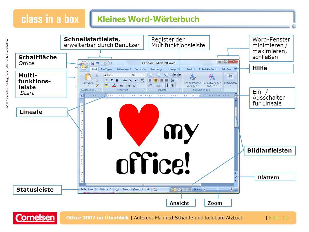 © 2007 Cornelsen Verlag, Berlin. Alle Rechte vorbehalten. | Folie 12 Office 2007 im Überblick | Autoren: Manfred Scharffe und Reinhard Atzbach Kleines