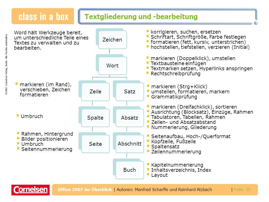© 2007 Cornelsen Verlag, Berlin. Alle Rechte vorbehalten. | Folie 15 Office 2007 im Überblick | Autoren: Manfred Scharffe und Reinhard Atzbach Textgli