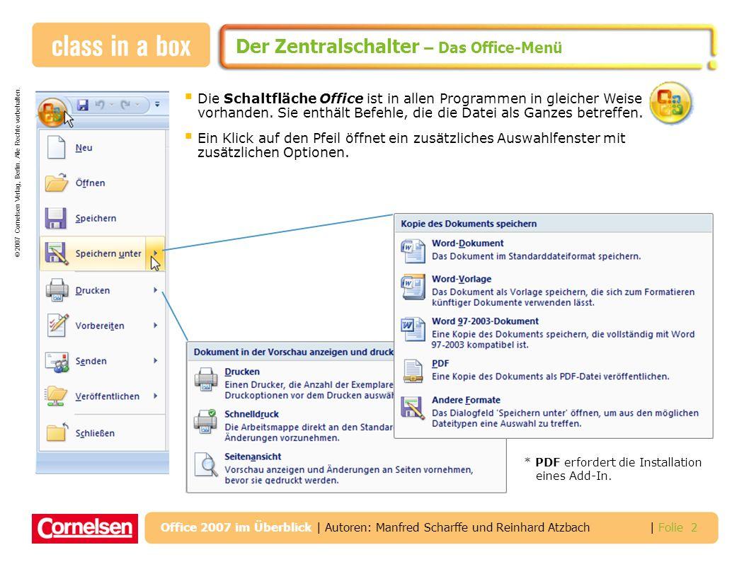 © 2007 Cornelsen Verlag, Berlin. Alle Rechte vorbehalten. | Folie 2 Office 2007 im Überblick | Autoren: Manfred Scharffe und Reinhard Atzbach Der Zent