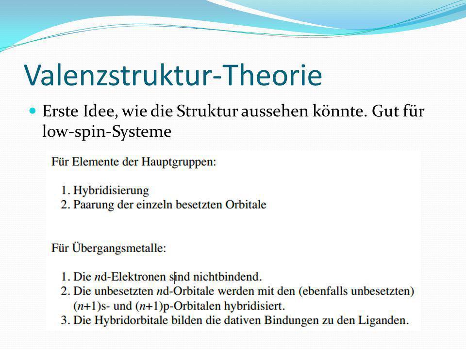 Valenzstruktur-Theorie Erste Idee, wie die Struktur aussehen könnte. Gut für low-spin-Systeme