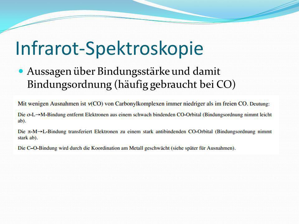 Infrarot-Spektroskopie Aussagen über Bindungsstärke und damit Bindungsordnung (häufig gebraucht bei CO)