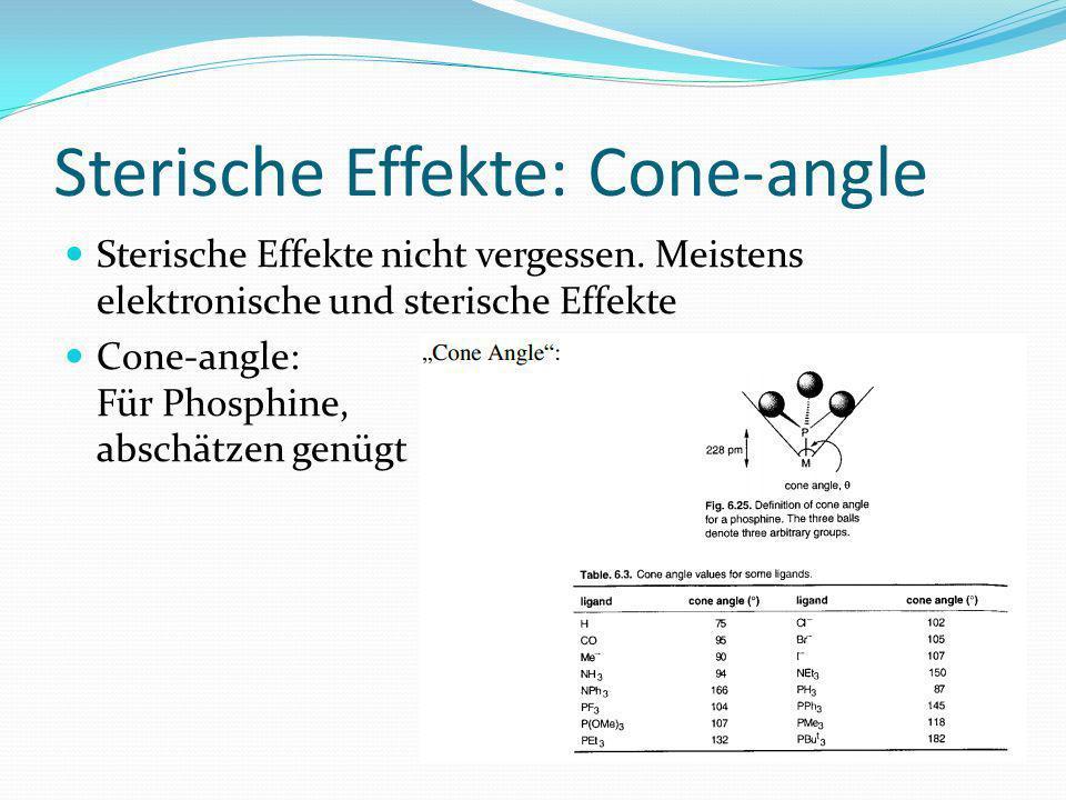 Sterische Effekte: Cone-angle Sterische Effekte nicht vergessen. Meistens elektronische und sterische Effekte Cone-angle: Für Phosphine, abschätzen ge