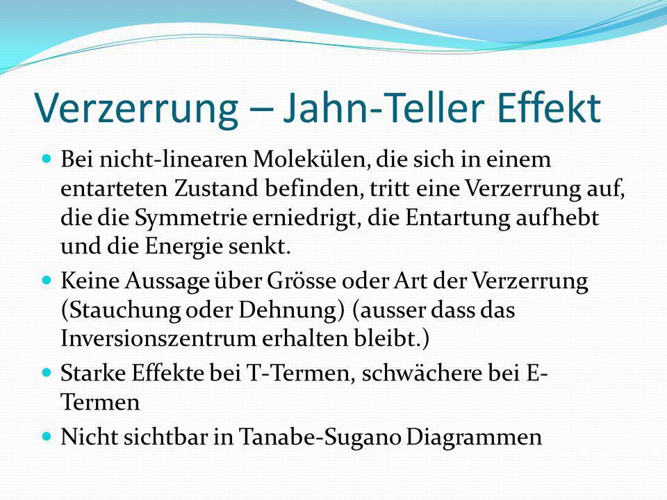 Verzerrung – Jahn-Teller Effekt Bei nicht-linearen Molekülen, die sich in einem entarteten Zustand befinden, tritt eine Verzerrung auf, die die Symmetrie erniedrigt, die Entartung aufhebt und die Energie senkt.
