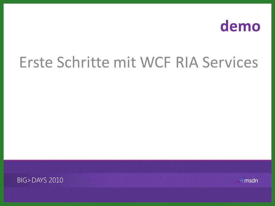 demo Erste Schritte mit WCF RIA Services