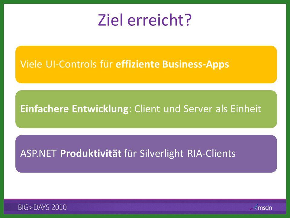 Ziel erreicht? Viele UI-Controls für effiziente Business-AppsEinfachere Entwicklung: Client und Server als EinheitASP.NET Produktivität für Silverligh