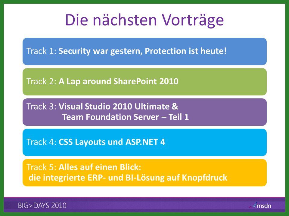 Die nächsten Vorträge Track 1: Security war gestern, Protection ist heute! Track 2: A Lap around SharePoint 2010 Track 3: Visual Studio 2010 Ultimate