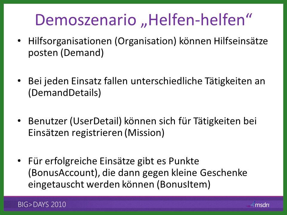 Demoszenario Helfen-helfen Hilfsorganisationen (Organisation) können Hilfseinsätze posten (Demand) Bei jeden Einsatz fallen unterschiedliche Tätigkeit