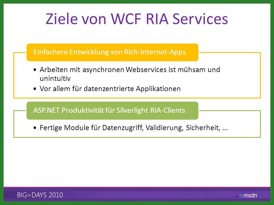 Ziele von WCF RIA Services Arbeiten mit asynchronen Webservices ist mühsam und unintuitiv Vor allem für datenzentrierte Applikationen Einfachere Entwi