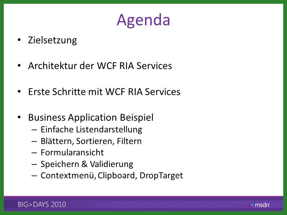Agenda Zielsetzung Architektur der WCF RIA Services Erste Schritte mit WCF RIA Services Business Application Beispiel – Einfache Listendarstellung – Blättern, Sortieren, Filtern – Formularansicht – Speichern & Validierung – Contextmenü, Clipboard, DropTarget