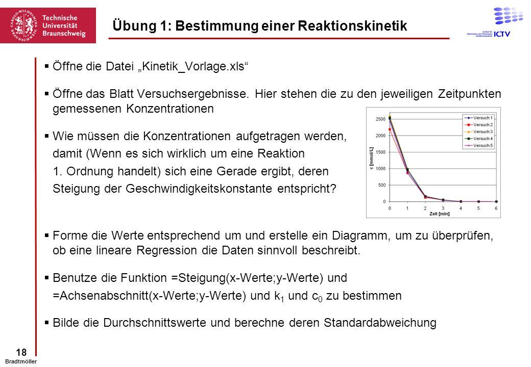 18 Bradtmöller Öffne die Datei Kinetik_Vorlage.xls Öffne das Blatt Versuchsergebnisse. Hier stehen die zu den jeweiligen Zeitpunkten gemessenen Konzen