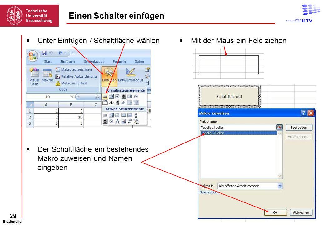 29 Bradtmöller Unter Einfügen / Schaltfläche wählen Einen Schalter einfügen Mit der Maus ein Feld ziehen Der Schaltfläche ein bestehendes Makro zuweis