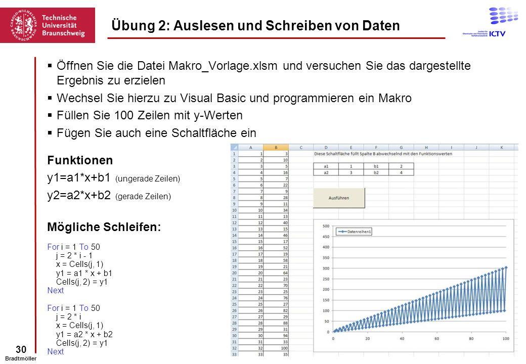 30 Bradtmöller Öffnen Sie die Datei Makro_Vorlage.xlsm und versuchen Sie das dargestellte Ergebnis zu erzielen Wechsel Sie hierzu zu Visual Basic und