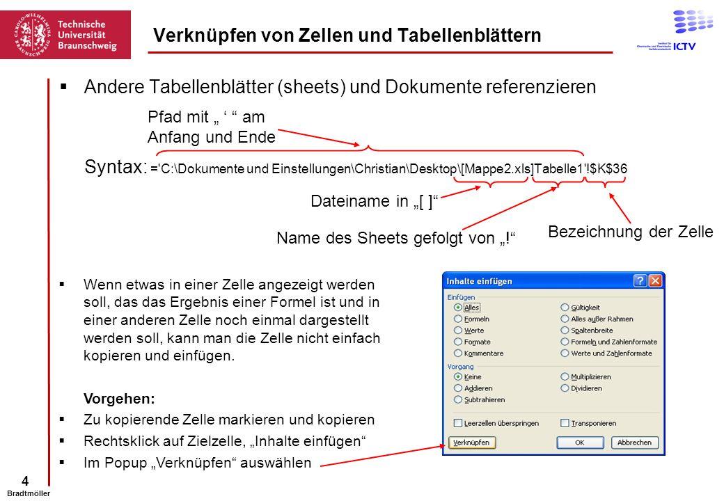 4 Bradtmöller Andere Tabellenblätter (sheets) und Dokumente referenzieren Syntax: ='C:\Dokumente und Einstellungen\Christian\Desktop\[Mappe2.xls]Tabel