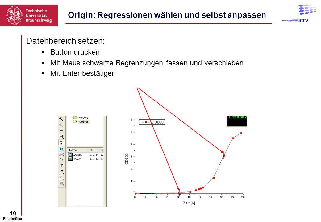 40 Bradtmöller Datenbereich setzen: Button drücken Mit Maus schwarze Begrenzungen fassen und verschieben Mit Enter bestätigen Origin: Regressionen wäh