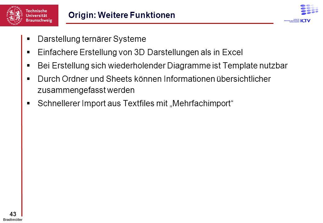 43 Bradtmöller Darstellung ternärer Systeme Einfachere Erstellung von 3D Darstellungen als in Excel Bei Erstellung sich wiederholender Diagramme ist T