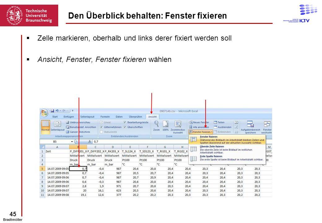 45 Bradtmöller Den Überblick behalten: Fenster fixieren Zelle markieren, oberhalb und links derer fixiert werden soll Ansicht, Fenster, Fenster fixier