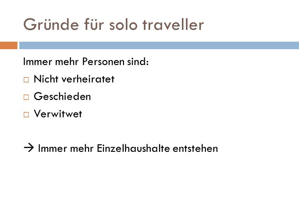 Gründe für solo traveller Immer mehr Personen sind: Nicht verheiratet Geschieden Verwitwet Immer mehr Einzelhaushalte entstehen