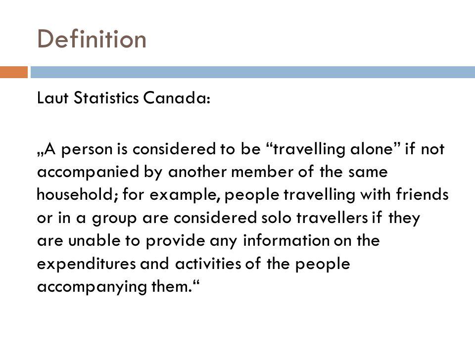 Typen Einzelpersonen Einzelperson allein reisen: leben und reisen alleine Einzelperson in Gruppen reisen: leben alleine, reisen in Gruppen (mehr als 6 Personen)