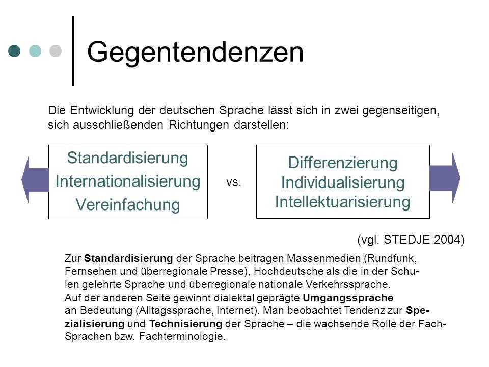Gegentendenzen Standardisierung Internationalisierung Vereinfachung Differenzierung Individualisierung Intellektuarisierung (vgl. STEDJE 2004) Die Ent