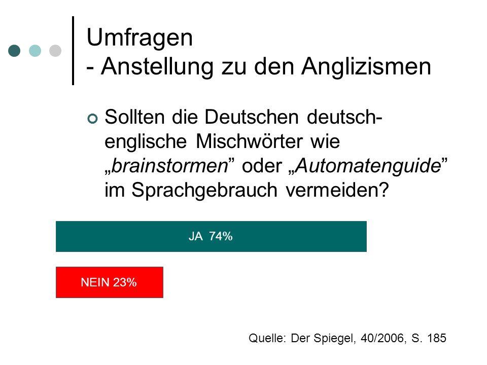 Umfragen - Anstellung zu den Anglizismen Sollten die Deutschen deutsch- englische Mischwörter wiebrainstormen oder Automatenguide im Sprachgebrauch ve
