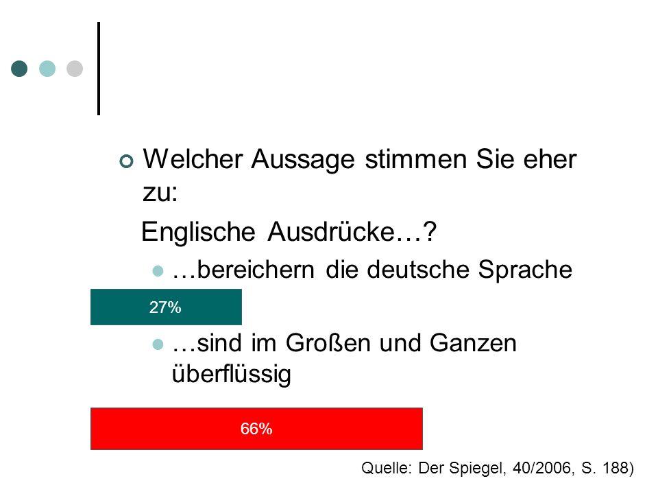 Welcher Aussage stimmen Sie eher zu: Englische Ausdrücke…? …bereichern die deutsche Sprache …sind im Großen und Ganzen überflüssig 27% 66% Quelle: Der