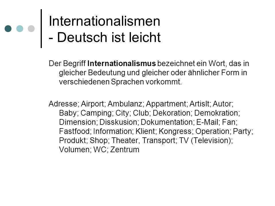 Internationalismen - Deutsch ist leicht Der Begriff Internationalismus bezeichnet ein Wort, das in gleicher Bedeutung und gleicher oder ähnlicher Form
