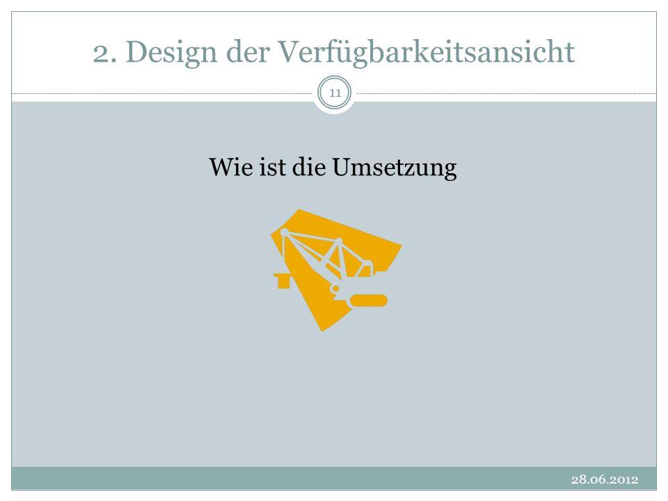 2. Design der Verfügbarkeitsansicht 28.06.2012 11 Wie ist die Umsetzung