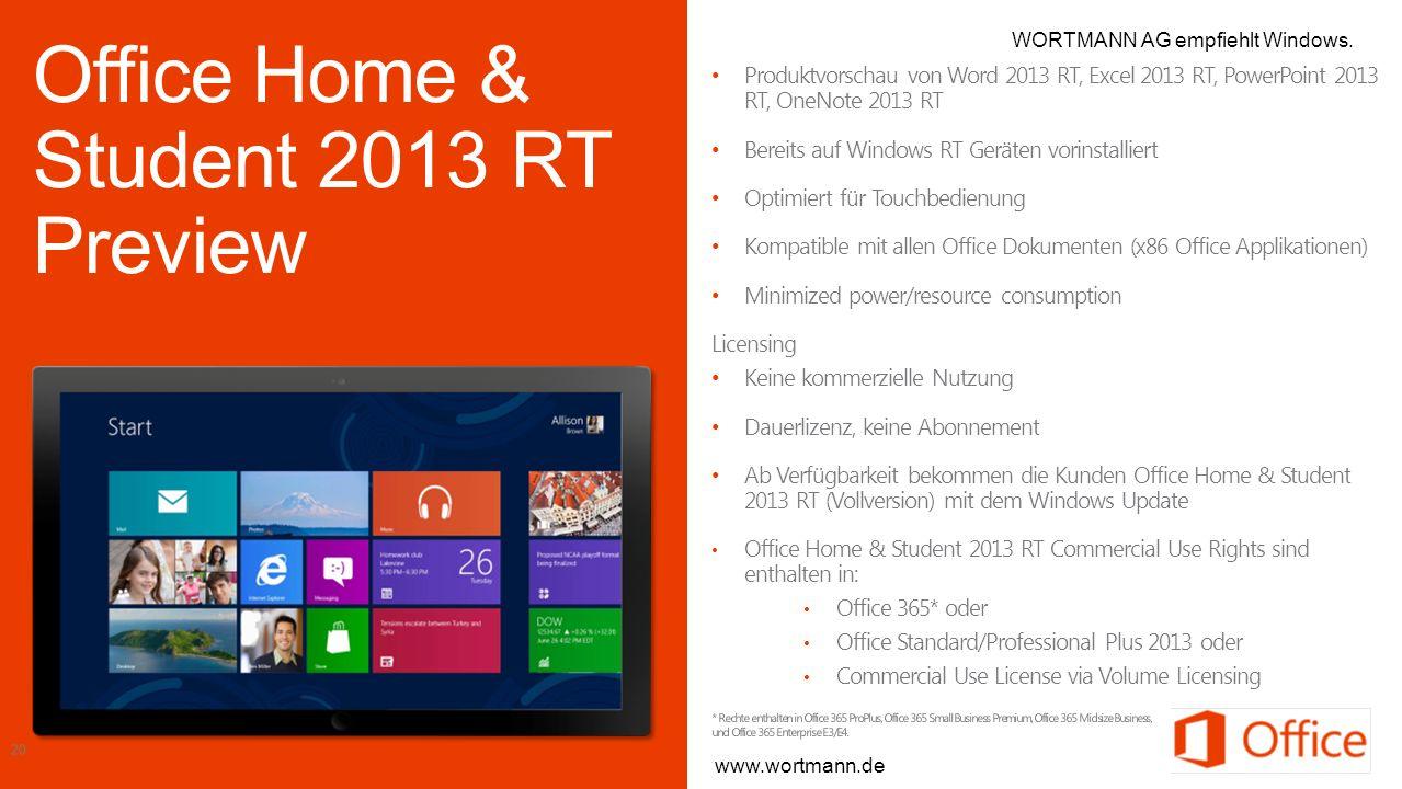 Produktvorschau von Word 2013 RT, Excel 2013 RT, PowerPoint 2013 RT, OneNote 2013 RT Bereits auf Windows RT Geräten vorinstalliert Optimiert für Touch