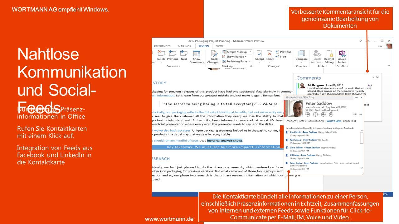 Statusinfos und Kontaktkarte überall verfügbar – für eine schnellere Interaktion Verbesserte Kommentaransicht für die gemeinsame Bearbeitung von Dokum