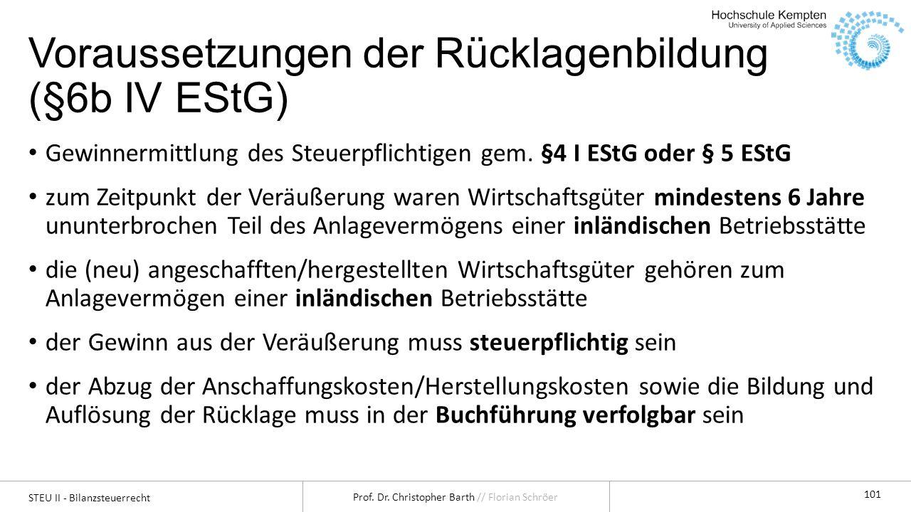 STEU II - Bilanzsteuerrecht Prof. Dr. Christopher Barth // Florian Schröer 101 Voraussetzungen der Rücklagenbildung (§6b IV EStG) Gewinnermittlung des