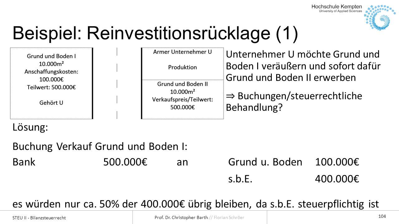 STEU II - Bilanzsteuerrecht Prof. Dr. Christopher Barth // Florian Schröer 104 Beispiel: Reinvestitionsrücklage (1) Unternehmer U möchte Grund und Bod