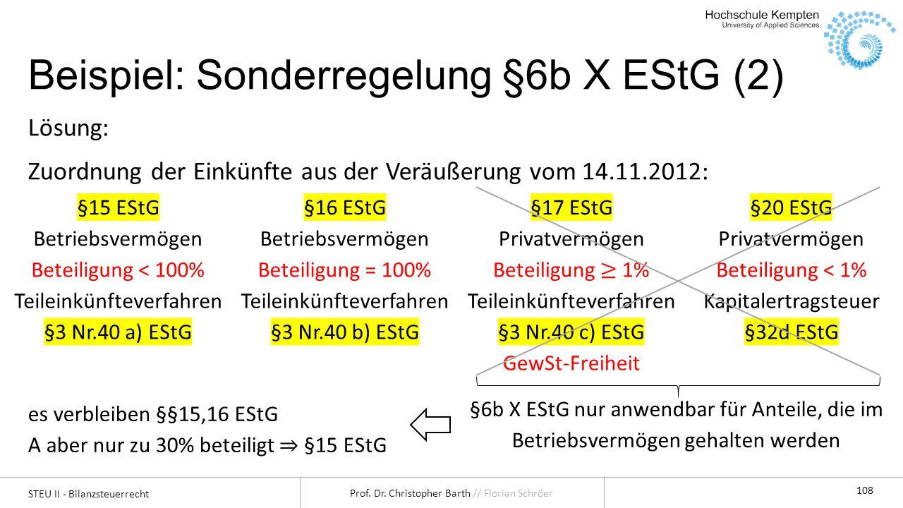 STEU II - Bilanzsteuerrecht Prof. Dr. Christopher Barth // Florian Schröer 108 Beispiel: Sonderregelung §6b X EStG (2) Lösung: Zuordnung der Einkünfte