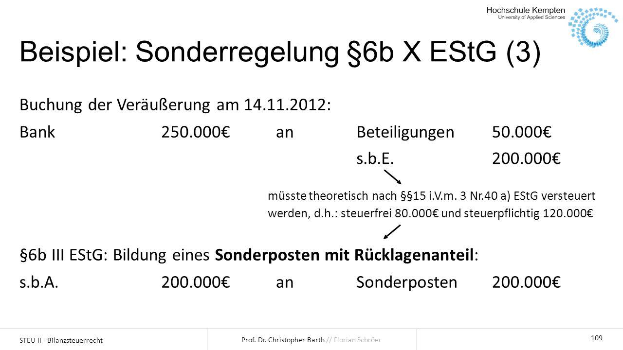 STEU II - Bilanzsteuerrecht Prof. Dr. Christopher Barth // Florian Schröer 109 Beispiel: Sonderregelung §6b X EStG (3) Buchung der Veräußerung am 14.1