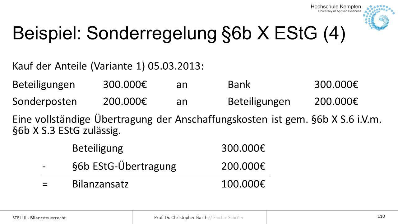 STEU II - Bilanzsteuerrecht Prof. Dr. Christopher Barth // Florian Schröer 110 Beispiel: Sonderregelung §6b X EStG (4) Kauf der Anteile (Variante 1) 0