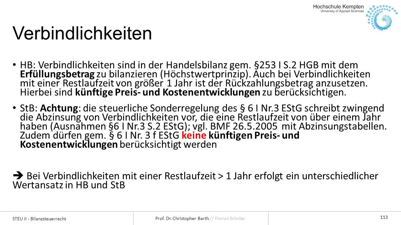 STEU II - Bilanzsteuerrecht Prof. Dr. Christopher Barth // Florian Schröer 113 Verbindlichkeiten HB: Verbindlichkeiten sind in der Handelsbilanz gem.