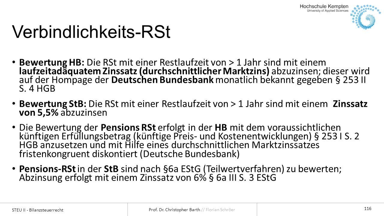STEU II - Bilanzsteuerrecht Prof. Dr. Christopher Barth // Florian Schröer 116 Verbindlichkeits-RSt Bewertung HB: Die RSt mit einer Restlaufzeit von >